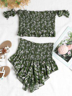 Smocked Floral Two Piece Set - Medium Forest Green L