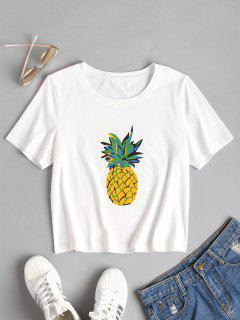 Kurzarm Ananas Druck T-Shirt - Weiß L