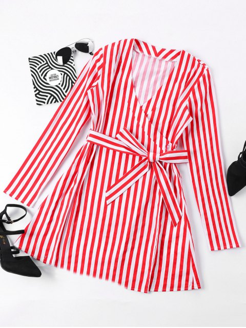 outfits Mini Striped Surplice Dress - RED XL Mobile