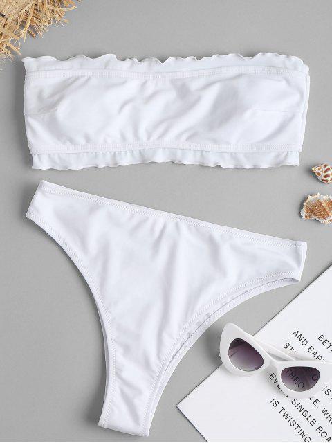Bikini bandeau de corte alto con volantes de pierna - Blanco L Mobile