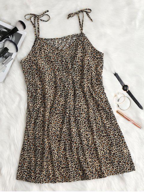 fancy Tie Strap Leopard Print Slip Dress - COFFEE S Mobile