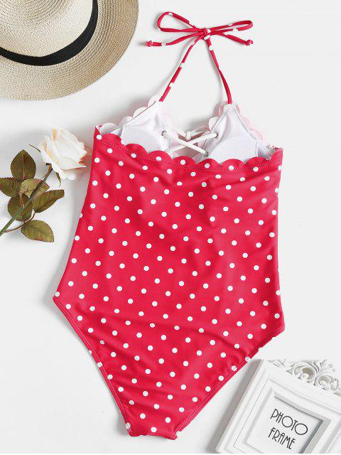 shops Scalloped Lace-up Polka Dot Swimsuit - RED M Mobile