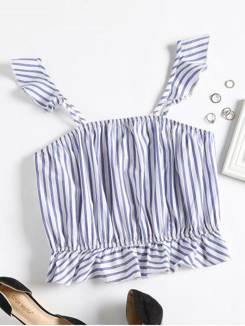 shop Striped Square Tank Top - NAVY BLUE L Mobile