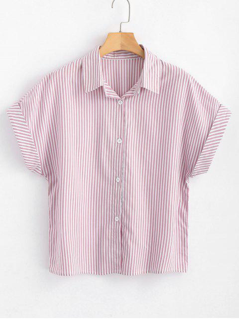ladies Button Down Stripes Shirt - LIGHT PINK L Mobile