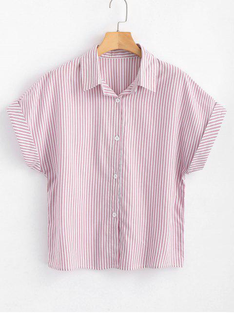 Knopf Unten Streifen Shirt - Pink L Mobile