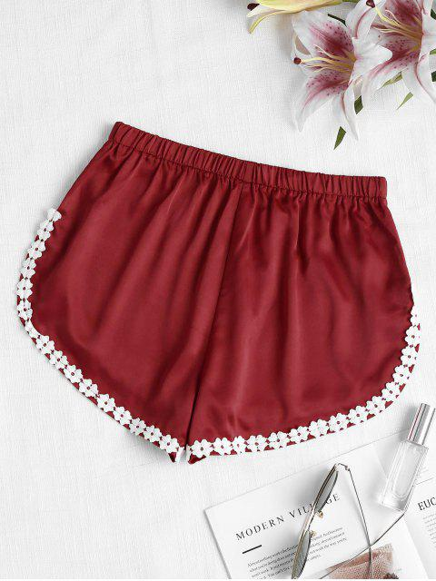 sale Lacework High Slit Shorts - RED WINE L Mobile