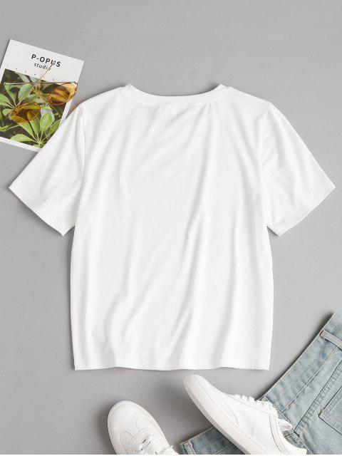 outfits Round Neck Graphic Tee - WHITE S Mobile