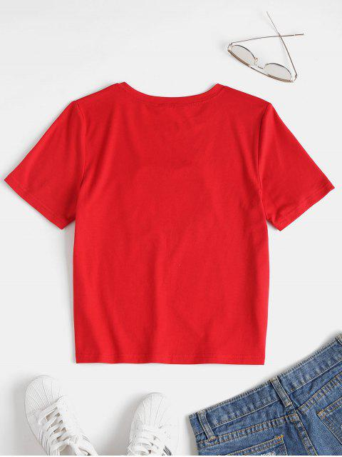 trendy Fringed Heart Tee - LOVE RED M Mobile
