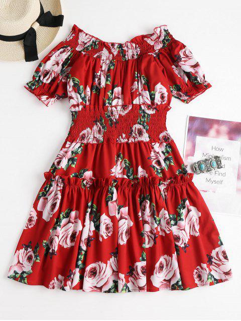 women Off Shoulder Smocked Floral Dress - LOVE RED ONE SIZE Mobile