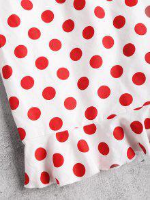 Lunares Amo Anudados M Rojo Vestido Con En Volantes Ajustado nq1xtwX6YP
