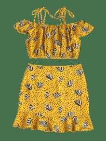 Amarillo Ducky De Caucho Estampado Con Falda De Conjunto S Lunares De Cami 4AzvZZq