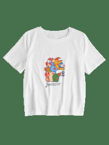 Camiseta Estampado De M Dinosaurios Blanco De nvvrqwxH85