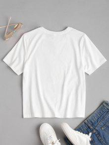 Manga De Camiseta S Corta Blanco Estampada 8RpqER