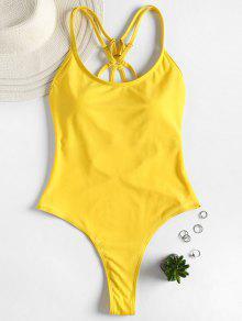 Strappy ثونغ Swimsuit - الأصفر S
