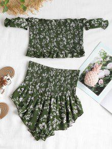 Floral Verde Set M Piece Mediana Bosque Smocked Two gnqx47wfUn