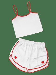 Contraste Blanco Cami L Cortos Y De Delfines Conjunto Pantalones wq0Ftaq