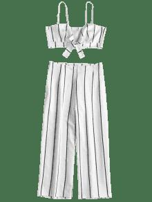 Top Culottes Stripe Crop Juego L Conjunto Y A Blanco xHqIznWO