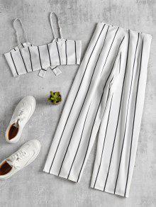 Stripe Conjunto Blanco Y A Juego Crop Top Culottes L vxEqfHZxwF