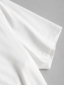 Manga Corta Con Blanco Camiseta De Pi Estampado M a De A60ARqYBH