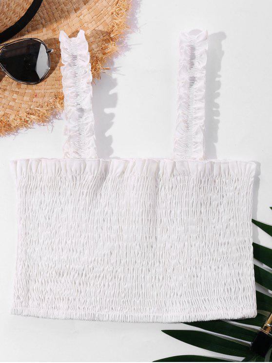 gefaltet Quadratisches Ausschnitt Crop Top - Weiß XL