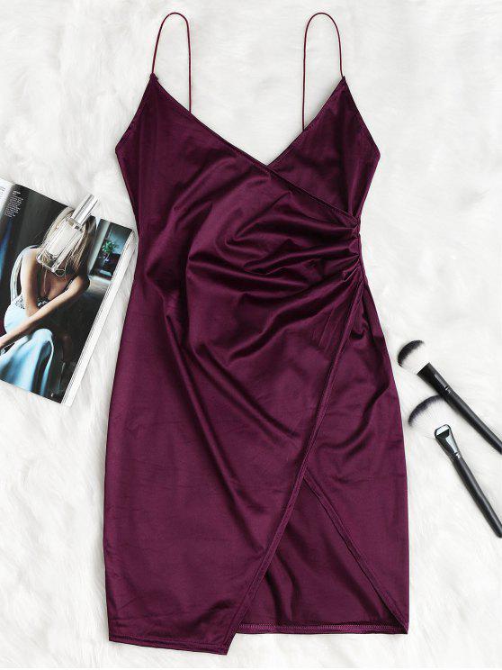 Cami Draped Crossover Slip Dress - Veludo de Ameixa XL