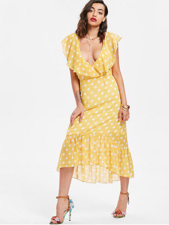 shop Polka Dot Ruffle Midi Dress - CORN YELLOW M