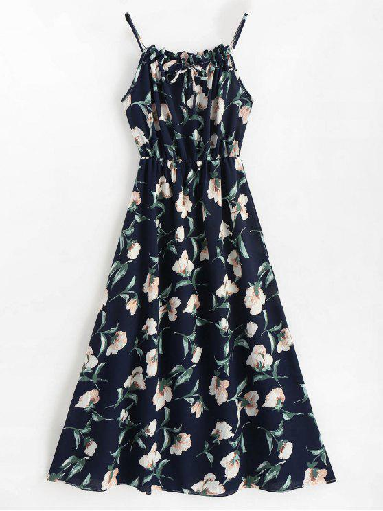 fashion Sleeveless Floral Maxi Dress - BLUE M