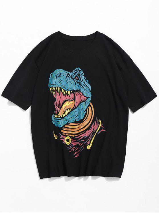 b23104d00 31% OFF] 2019 Dinosaur Print Short Sleeve T-shirt In BLACK | ZAFUL