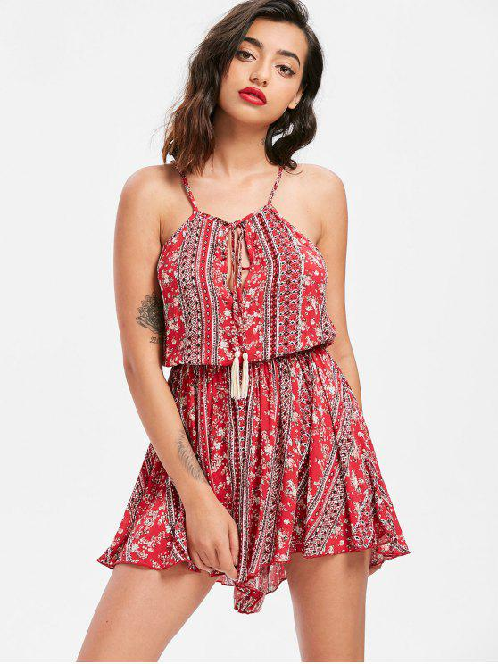 affordable Bohemian Print Cami Romper - RED XL