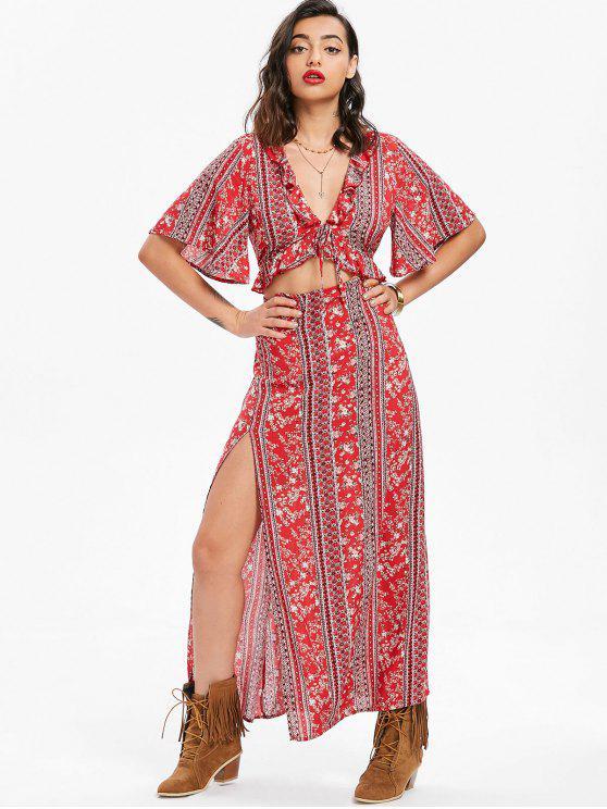 lady Cutout Bohemian Maxi Dress - RED M