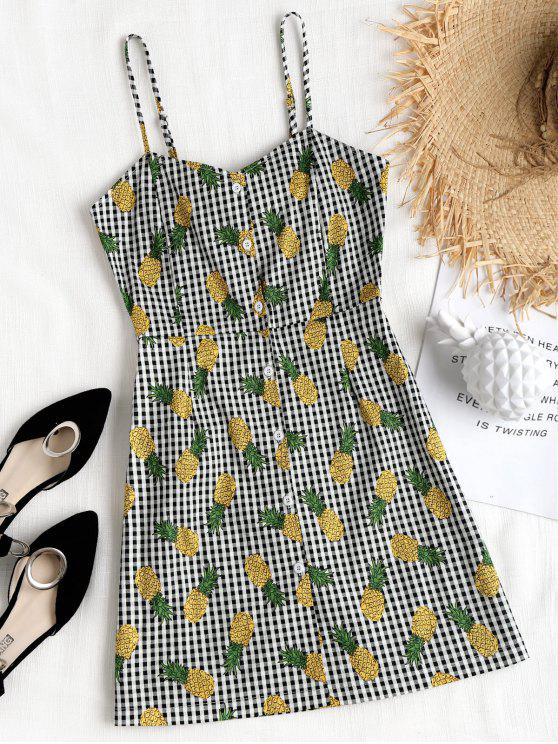 Gingham Pineapple Mini Vestido Pinafore - Preto S