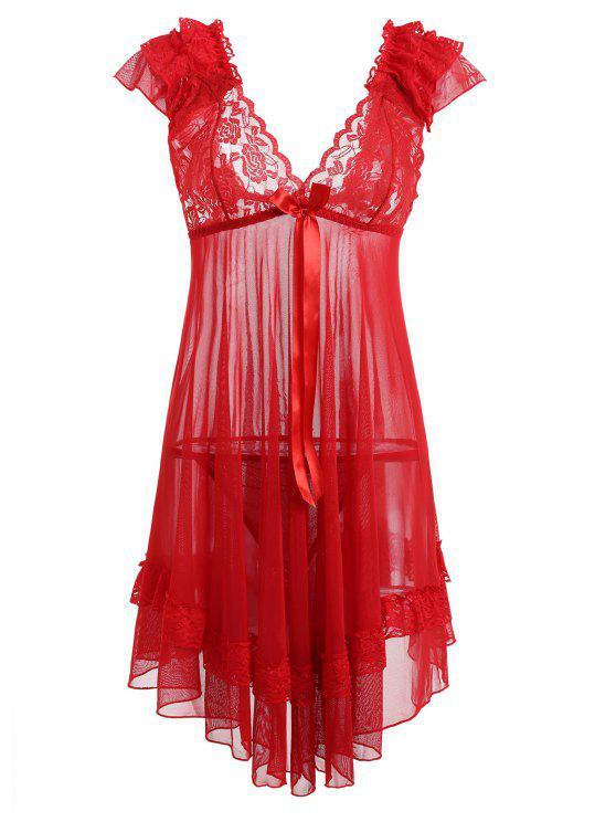 Vestido De Noite De Malha De Painel De Renda - Amor Vermelho Tamanho único