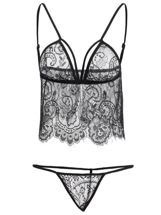 buy Floral Lace Lingerie Set - BLACK ONE SIZE