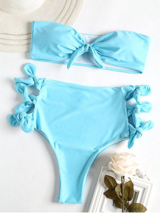 outfit Neon Tie Sides High Waisted Bikini Set - ROBIN EGG BLUE S