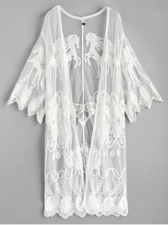 latest Scalloped Embroidered Kimono - WHITE ONE SIZE