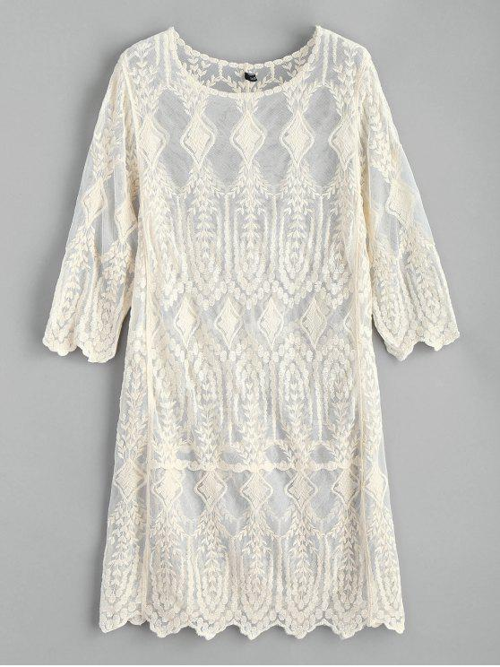 trendy Embroidered Beach Dress - WARM WHITE ONE SIZE