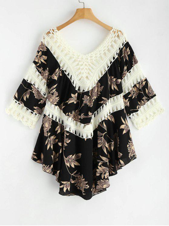 fashion Floral Crochet Panel Tunic Dress - BLACK ONE SIZE