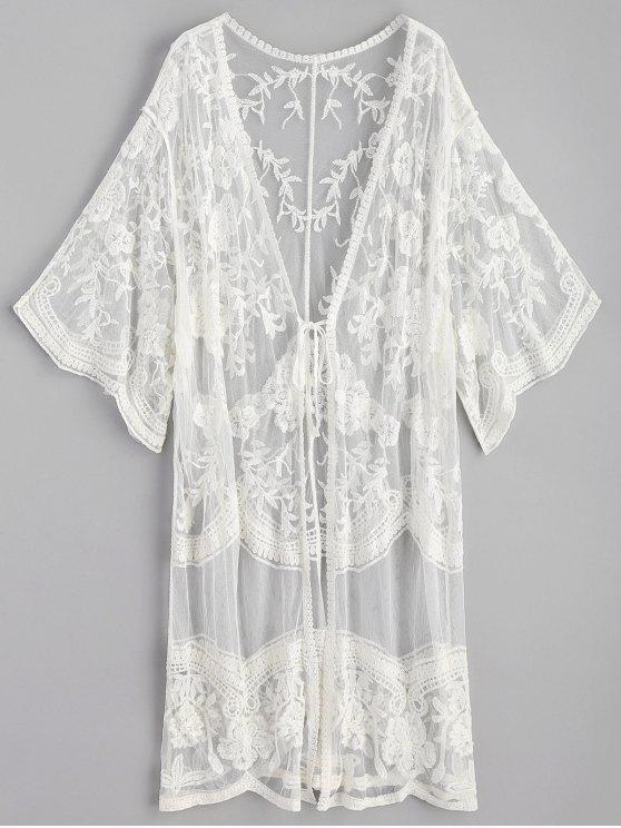 fancy Embroidered Long Kimono - WHITE ONE SIZE