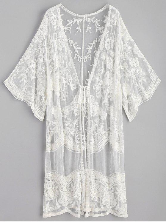 Kimono largo bordado - Blanco Única Talla