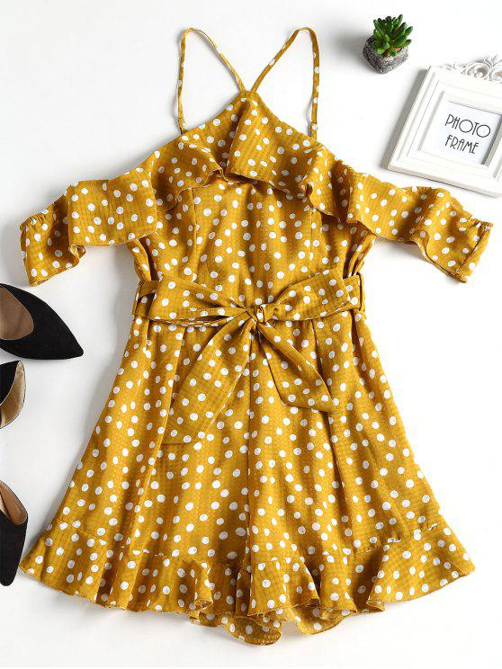 outfits Spotted Cold Shoulder Cute Romper - MUSTARD M