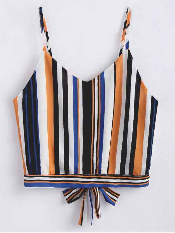 trendy Knotted Striped Tank Top - MULTI S