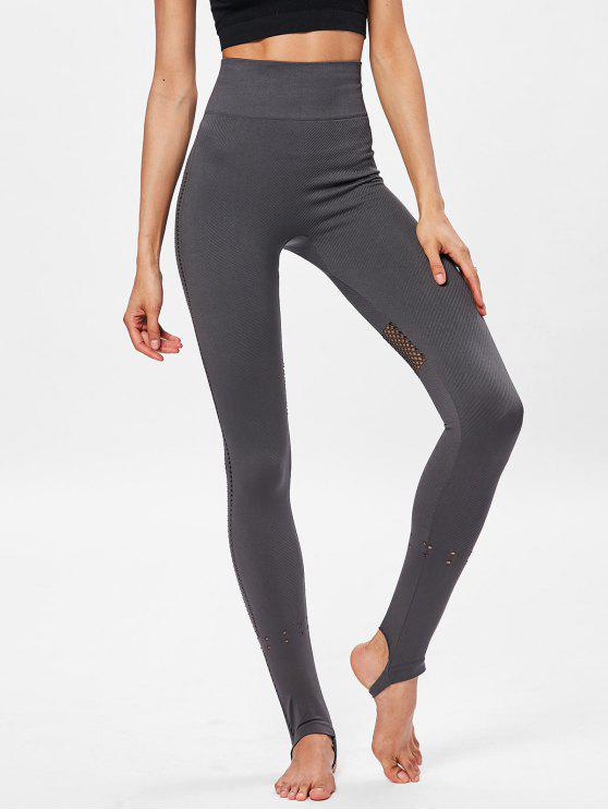 ladies High Waisted Moto Yoga Sports Leggings - GRAY WOLF L