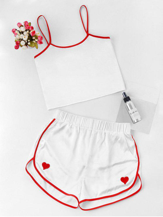 best Contrast Cami And Dolphin Shorts Set - WHITE S
