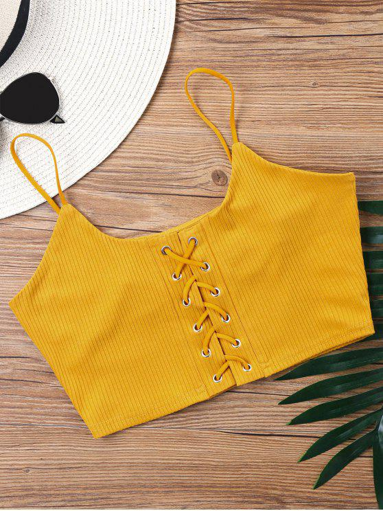 shop Knitted Lace Up Crop Tank Top - MUSTARD S