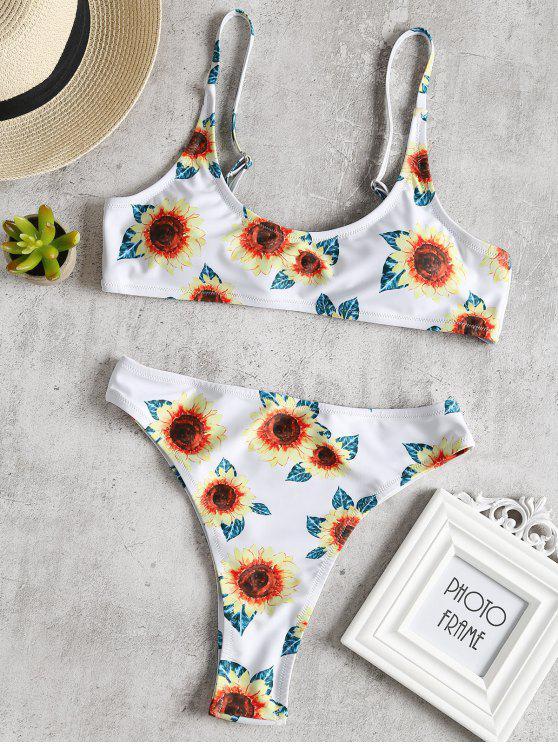 Hohe Geschnittener Sonnenblumen Druck Knoten Bikini - Weiß M