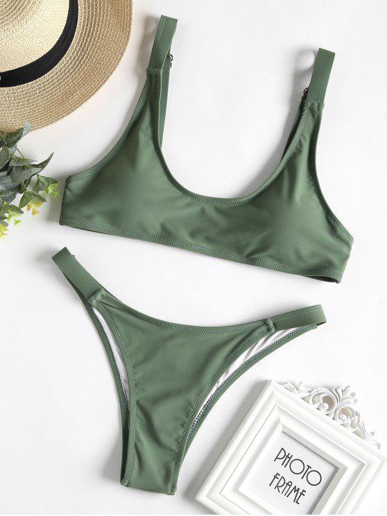 Caged Bralette Bikini Set - Dunkles Meergrün M