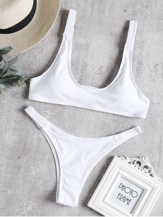 lady Caged Bralette Bikini Set - WHITE M
