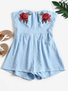 Floral Appliques Cut Out Strapless Romper - Light Blue L