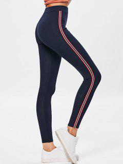 Side Stripe Workout Pants - Purplish Blue