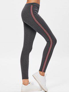 Side Stripe Workout Pants - Deep Gray